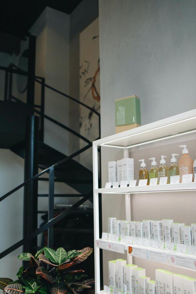 Beauty products on a shelf